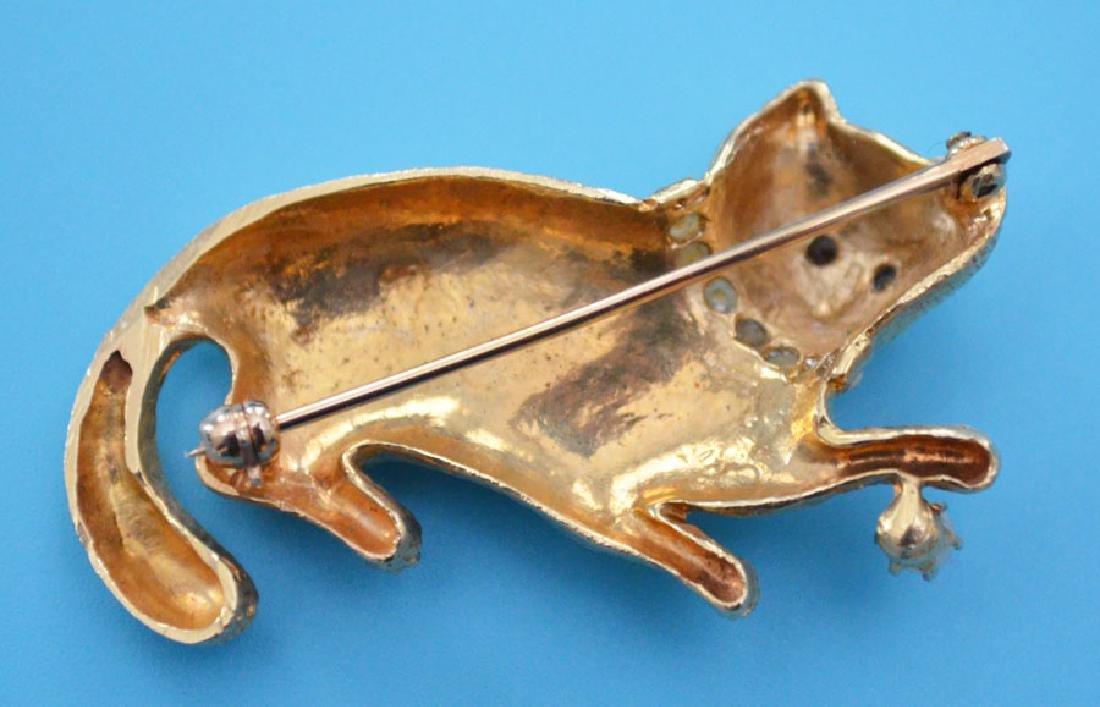 Adorable 14k Gold Cat Pin - 2