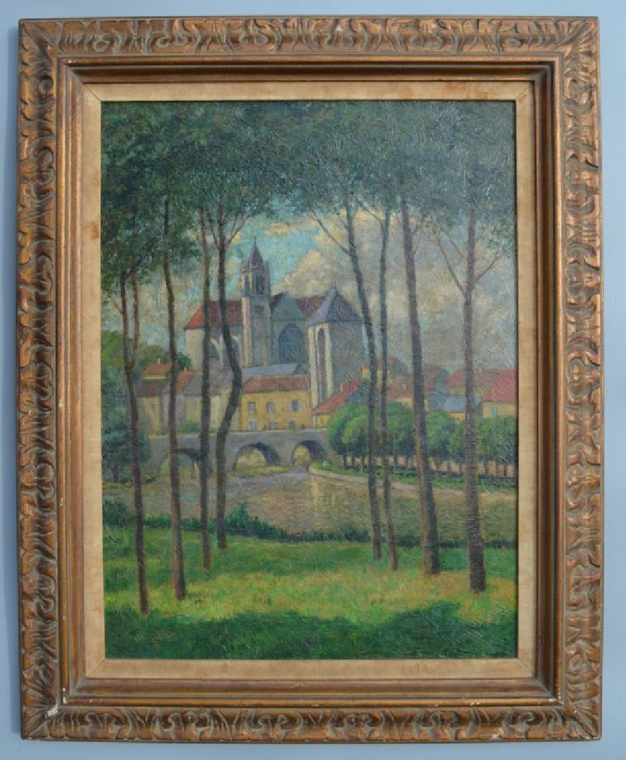 Painting of a Castle Scene Signed Harry Lachman