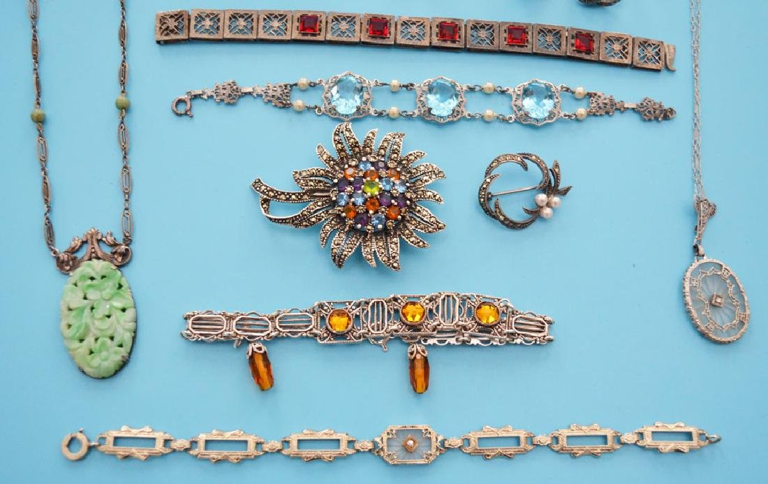 Nice Lot Of Filigree & Marcasite Jewelry - 2