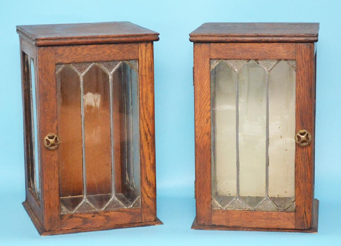 Pair of Tabletop Cupboards with Leaded Glass