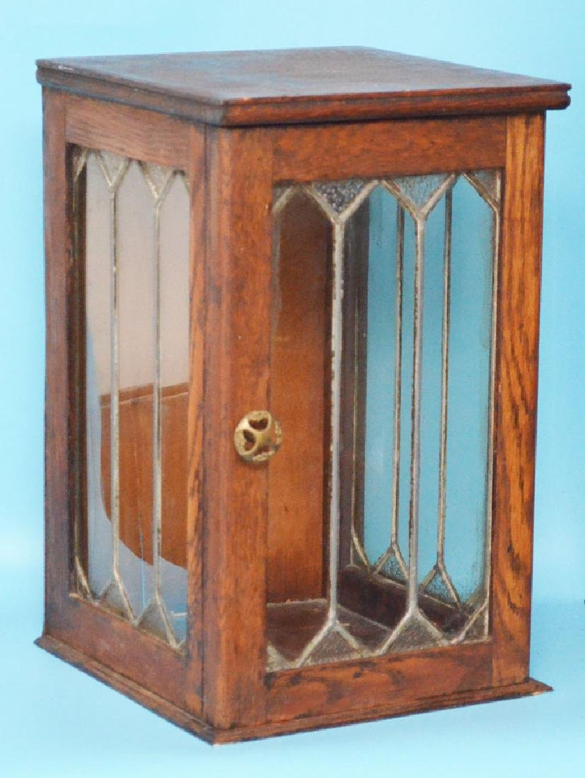 Pair of Tabletop Cupboards with Leaded Glass - 2