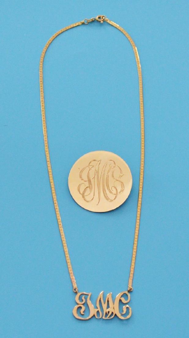 14k Gold Monogrammed Pendant & Necklace