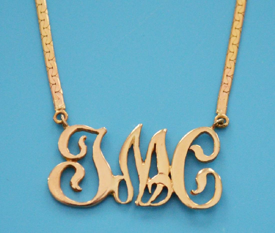 14k Gold Monogrammed Pendant & Necklace - 2