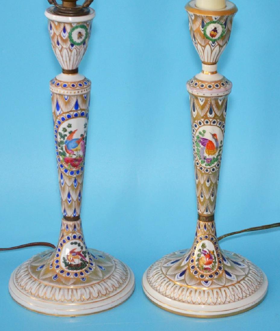 Pr Of Carl Thieme Dresden Candlestick Lamps - 3
