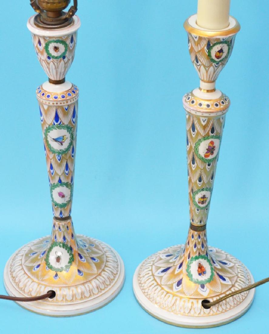Pr Of Carl Thieme Dresden Candlestick Lamps - 4