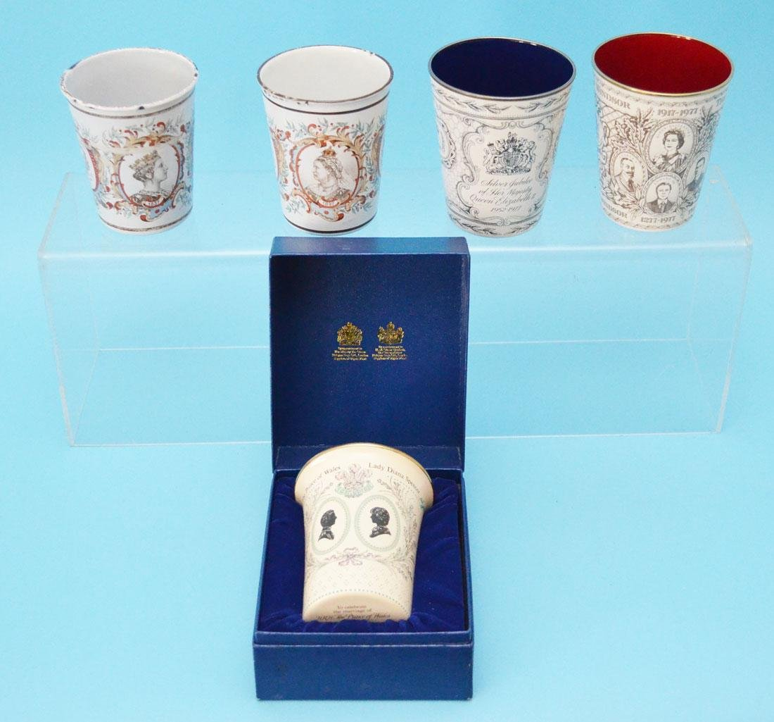 5 Royal  Enamel  Beakers ( Halcyon Days )