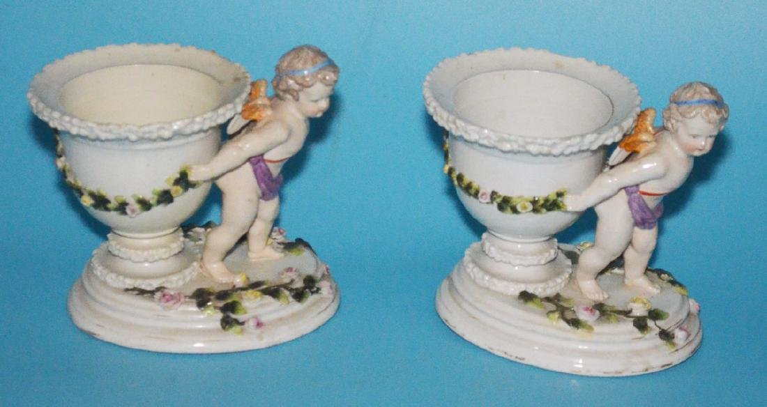 Pair of Sitzendorf Porcelain Putti Centerpieces