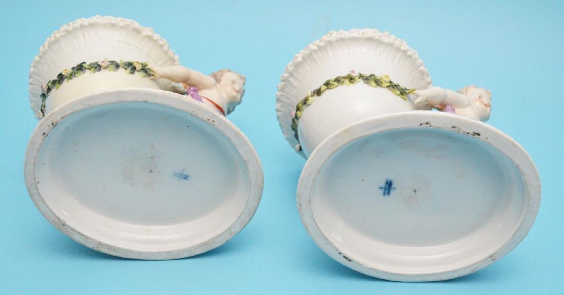 Pair of Sitzendorf Porcelain Putti Centerpieces - 6