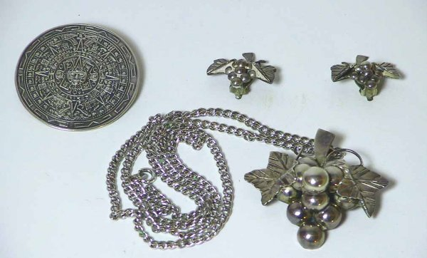 99: 4 Pcs. Taxco Sterling Silver Pin, Necklace Earrings