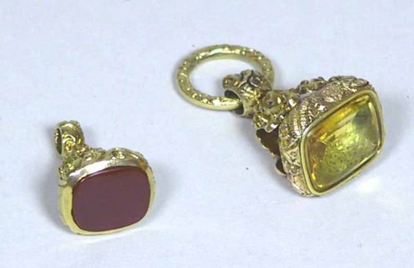 100: 2 Incredible Gold Victorian Watch Fobs