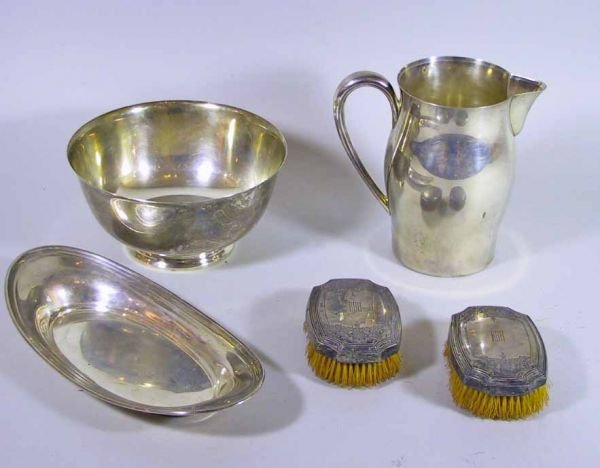 106: 5 Pcs Of Sterling Silver Tiffany & Co Bowl, Brush