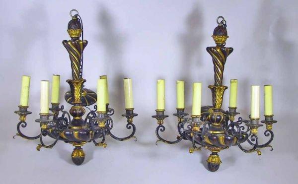 121: Pr.Of Ebony / Gold Polychromed 6 Light Chandeliers