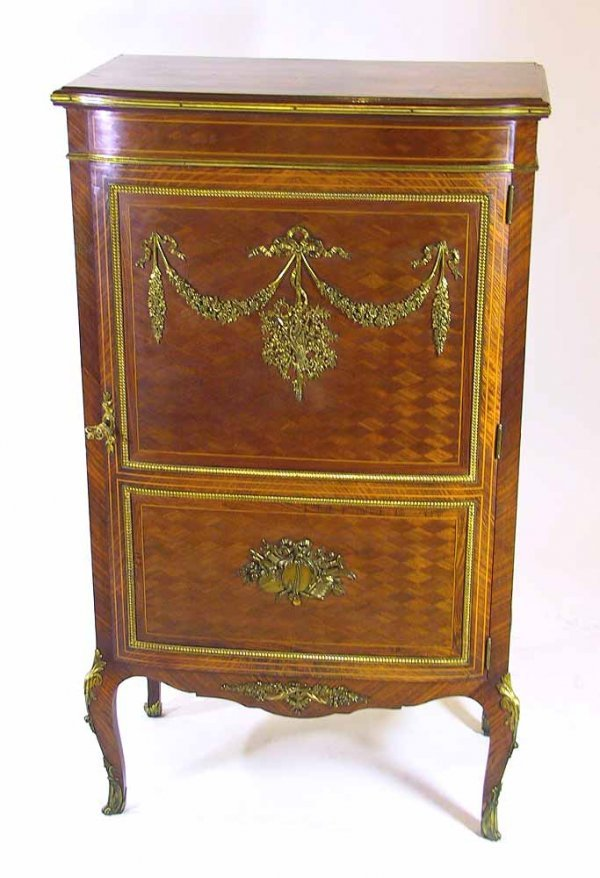 133: Vintage French Inlaid Music Cabinet With Ormolu