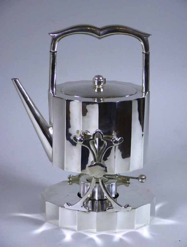98:  Mexican Sterling Silver Tea Pot on Stand Signed J.