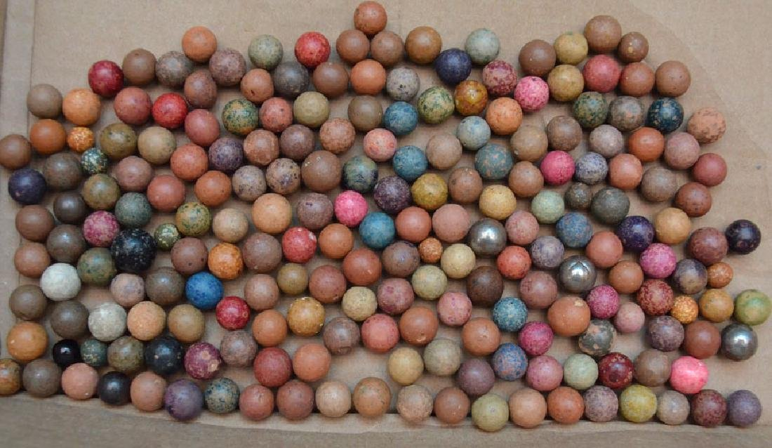 Large Lot Of Clay Marbles - 6