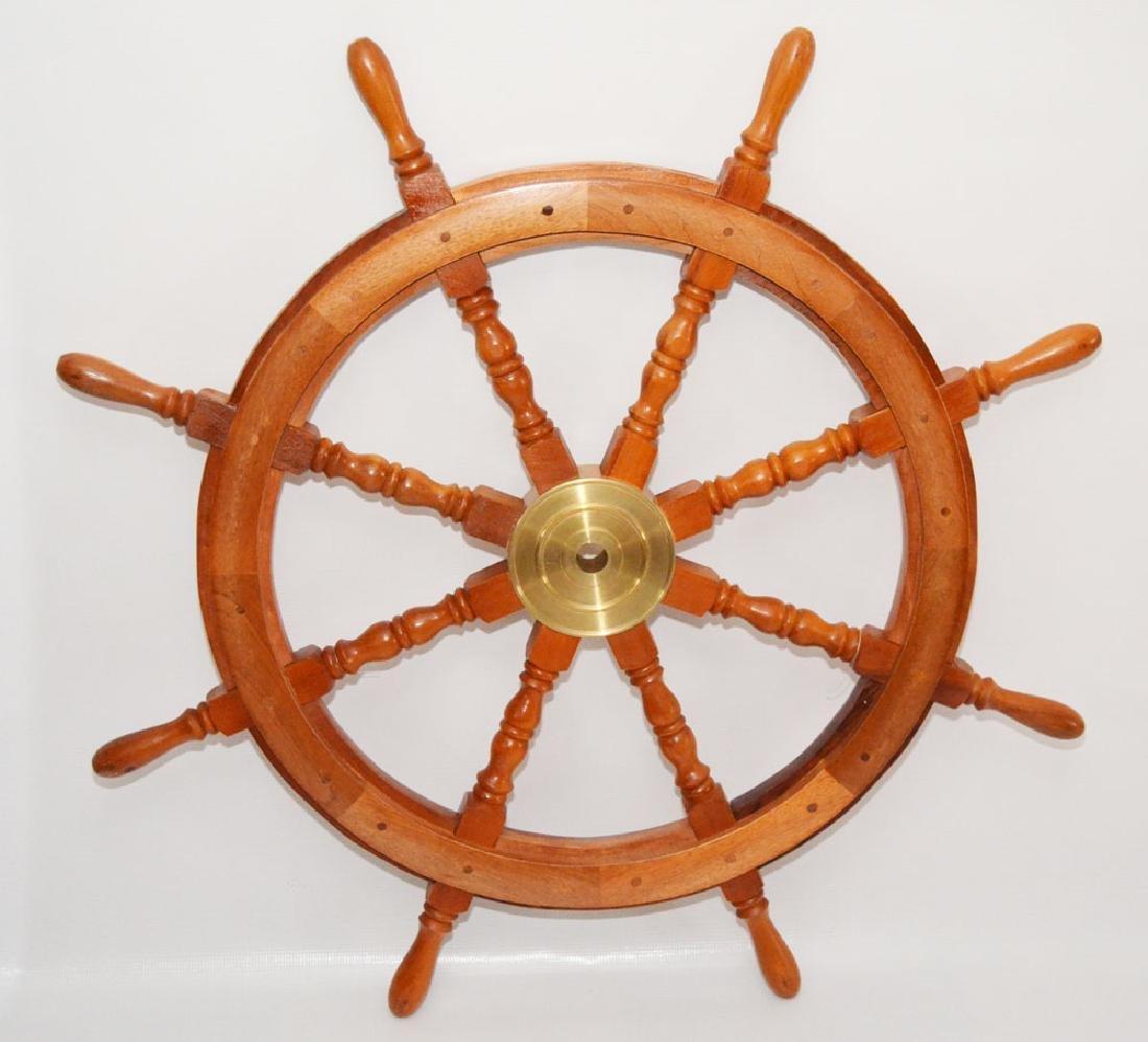Vintage Wood & Brass Ship's Wheel