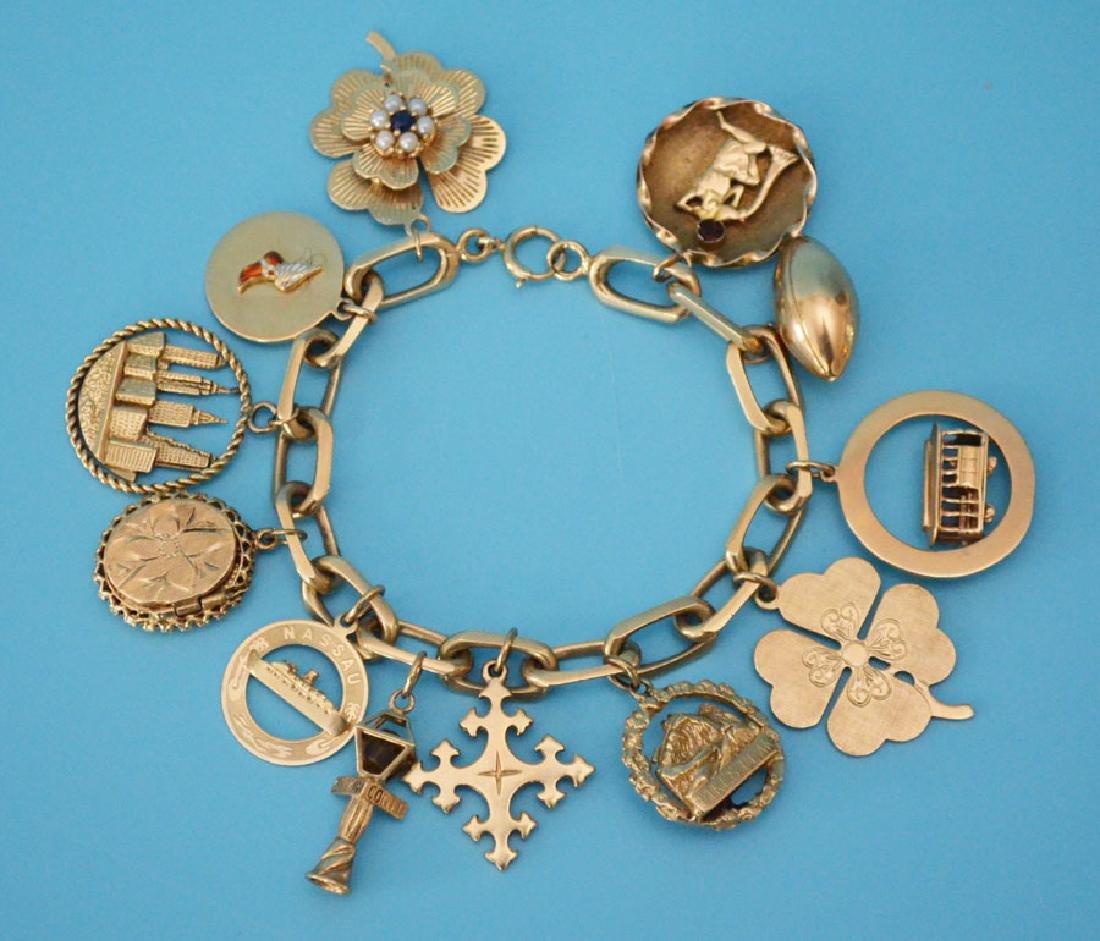 Heavy 14k Gold Interesting Charm Bracelet