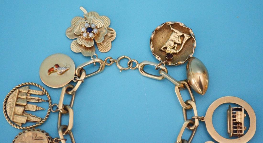 Heavy 14k Gold Interesting Charm Bracelet - 2