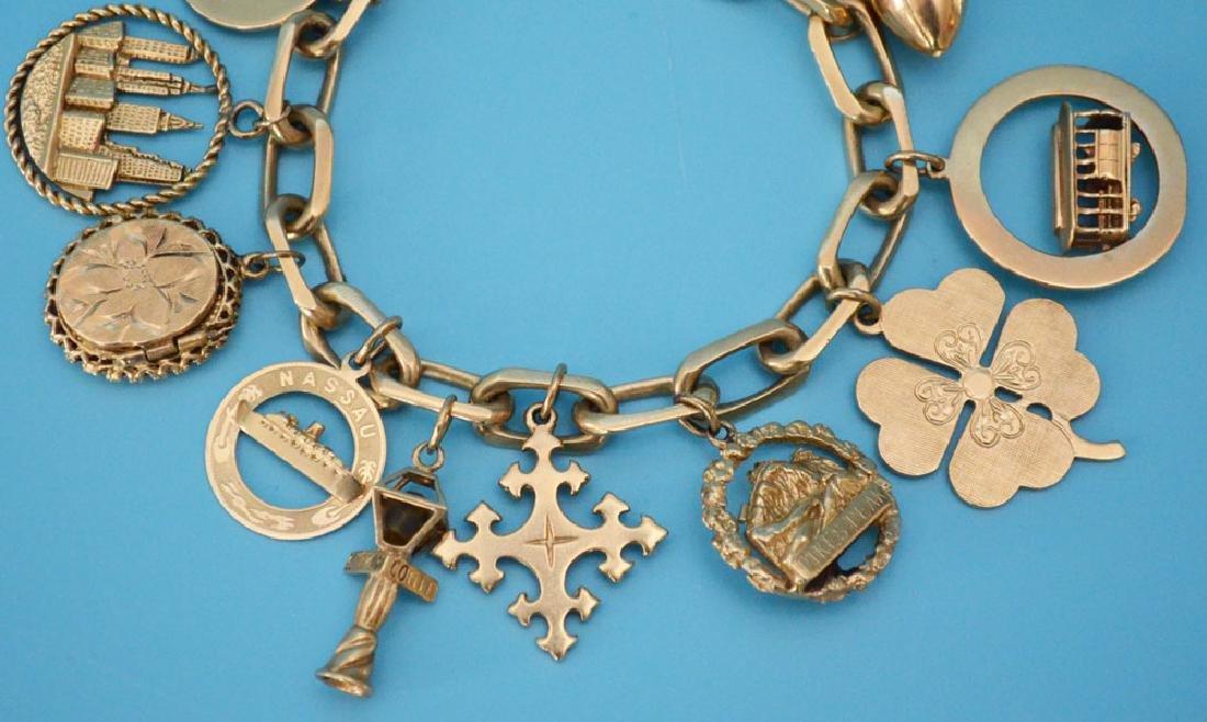 Heavy 14k Gold Interesting Charm Bracelet - 3