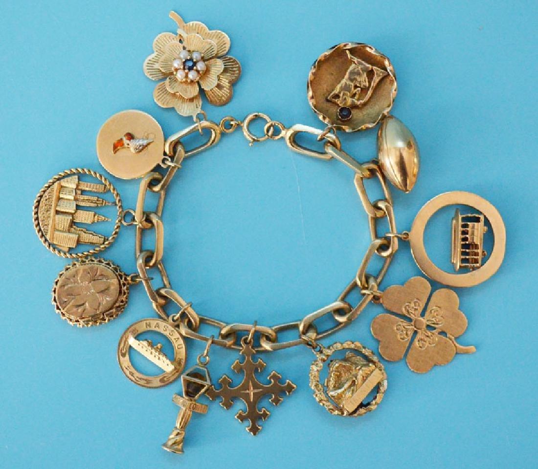 Heavy 14k Gold Interesting Charm Bracelet - 4