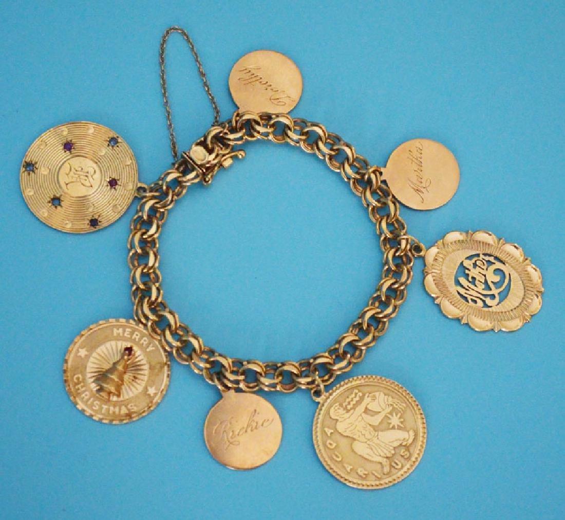 Lovely Vintage 14k Gold Charm Bracelet