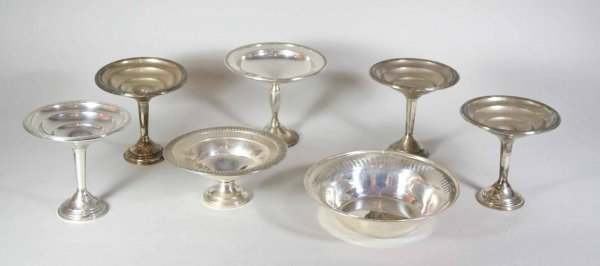 249: 7 Pcs Of Sterling Silver Hollow Ware Candy Dishes