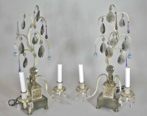 250: Pair of Retro 1940' s  Double Metal  Sconce lamps