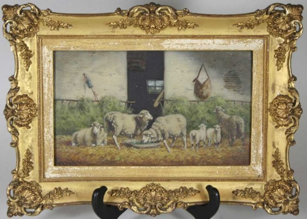 253: 19th C. O/B Painting  Sheep Signed Gregory Hollyer