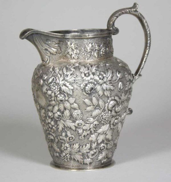 256: 19th C. Kirk & Son Coin Silver Repousse Pitcher