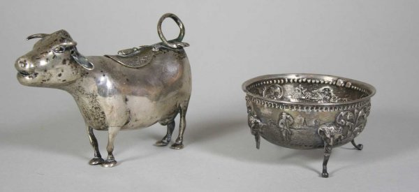 257: Early 19th C. Dutch 833 Silver Cow Creamer / Dish