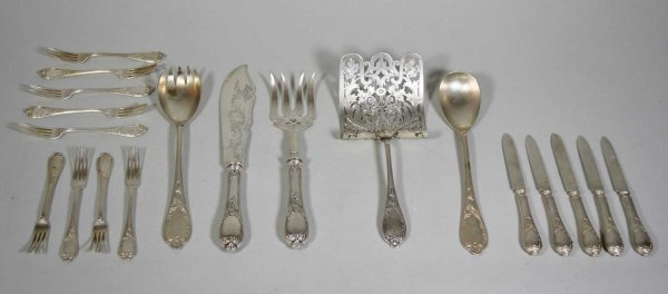 262: Partial Austrian 19th C. Silver Fish Set ( 19 Pcs)