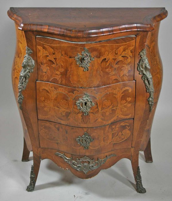 263: Antique Inlaid Bombay Chest / Bronze Mounts