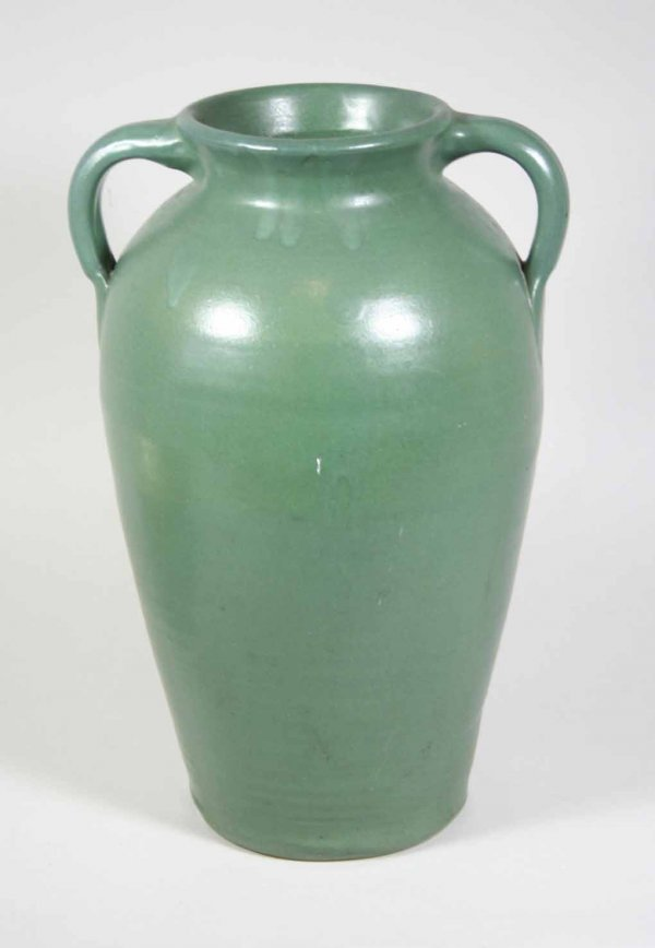 265: Large Matt Green 2 Handled Norwalk Pottery Vase