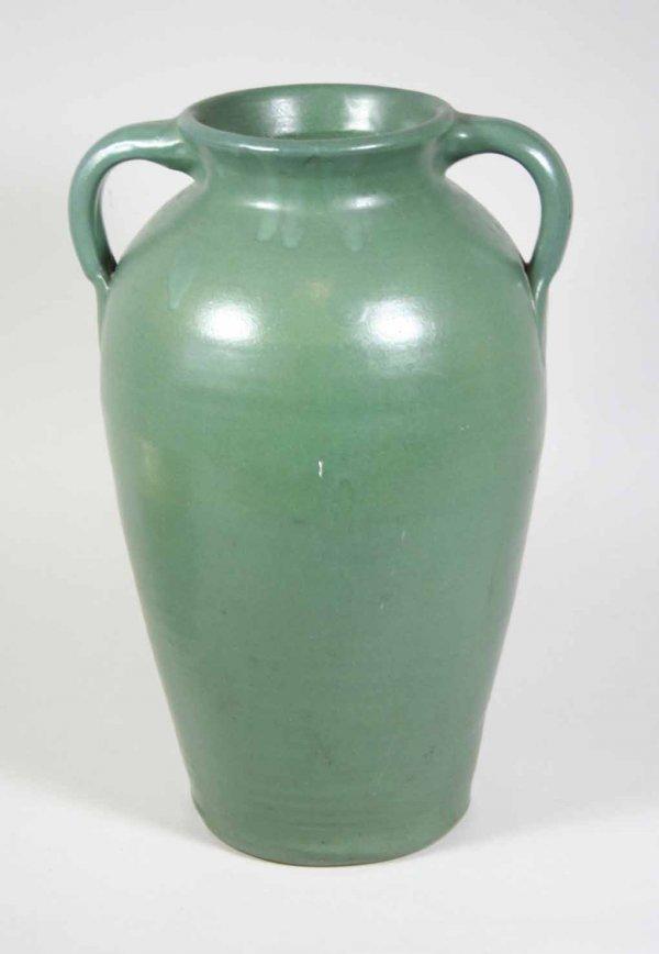 265 Large Matt Green 2 Handled Norwalk Pottery Vase