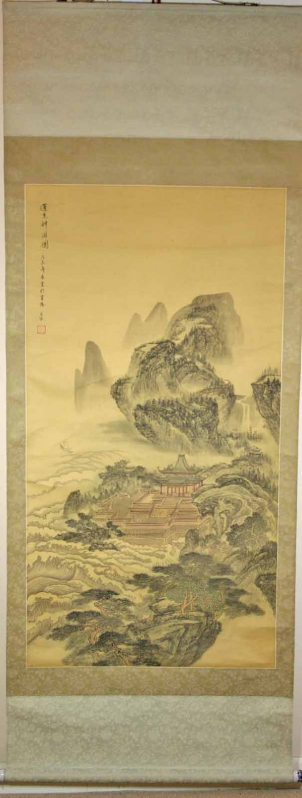 266: Chinese Signed Scroll Painting  of Temple  / Cloud