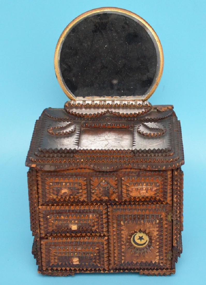 Antique Tramp Art Jewelry Box