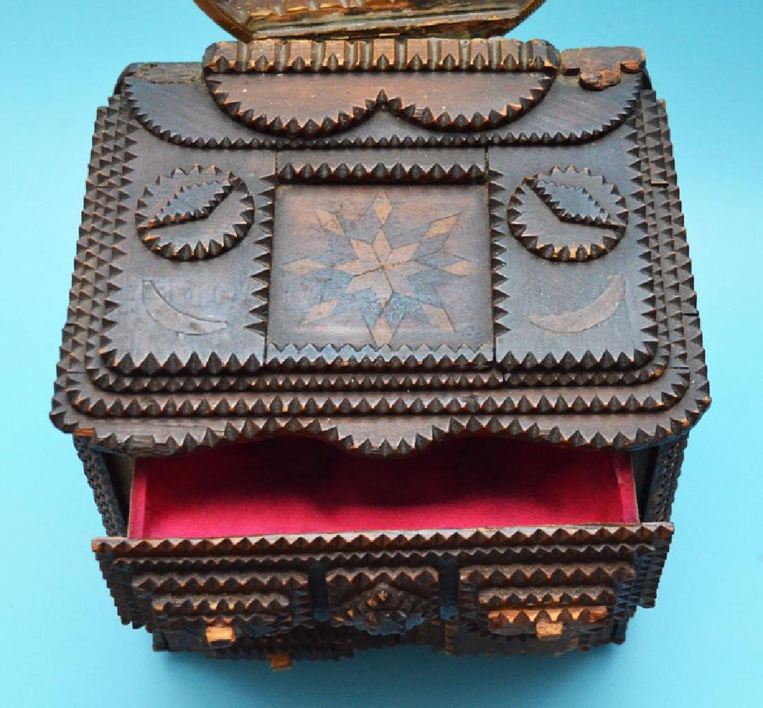 Antique Tramp Art Jewelry Box - 6