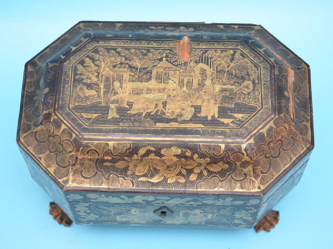 Antique Footed Chinese Lacquer Tea Cady - 2