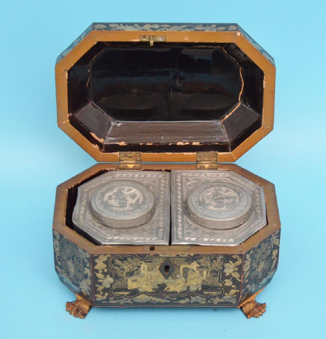 Antique Footed Chinese Lacquer Tea Cady - 3