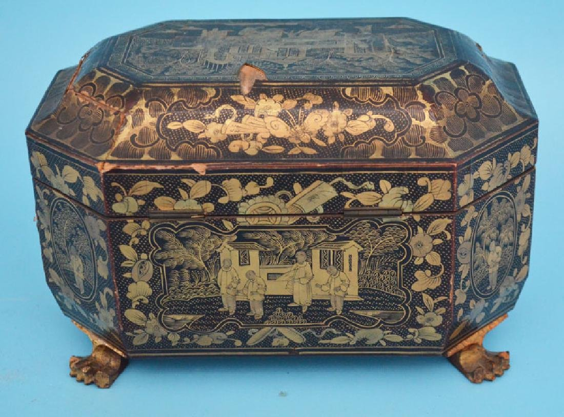 Antique Footed Chinese Lacquer Tea Cady - 5