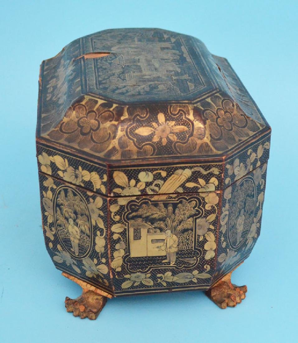 Antique Footed Chinese Lacquer Tea Cady - 7