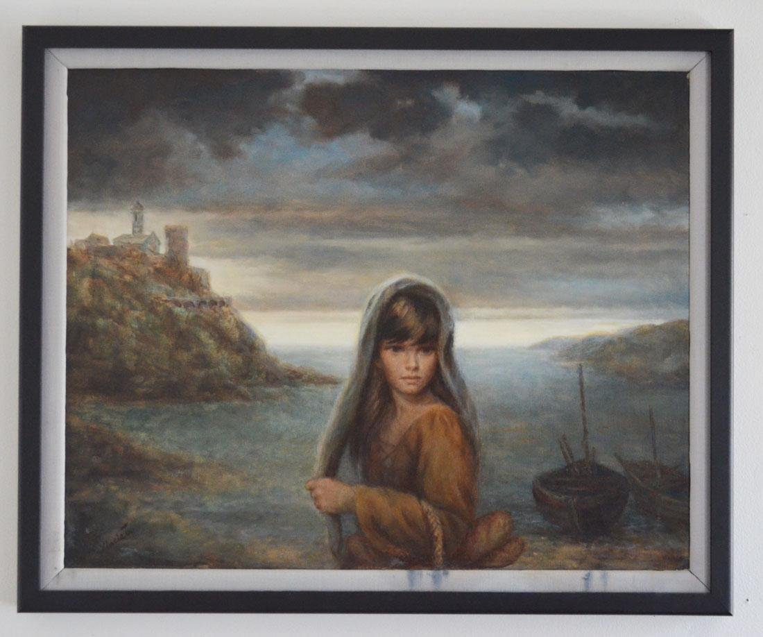 Joe King Vinciata Painting of Girl w Bread