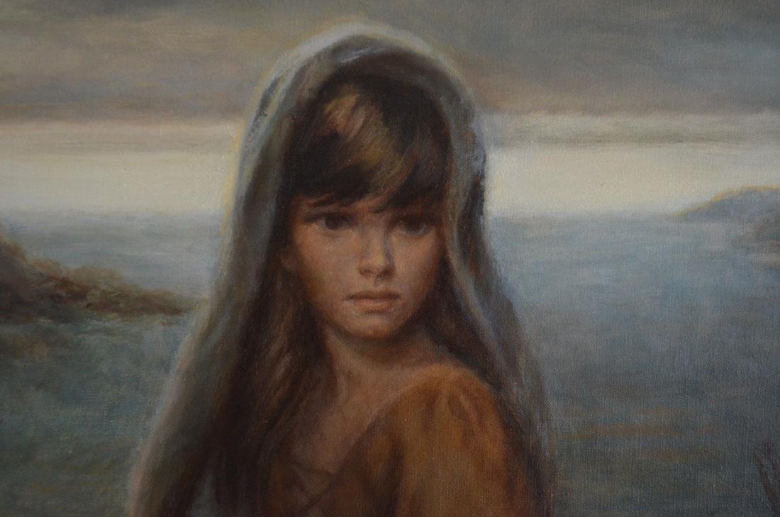 Joe King Vinciata Painting of Girl w Bread - 2