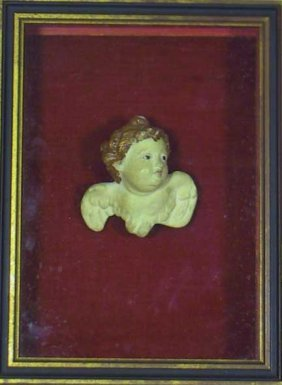 1: Framed 18th / 19th Carved Cupid Angel Figure