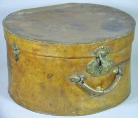 Antique Traveling 19th Century Leather Hatbox