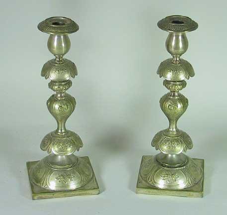 3: Pair Of Norblin Silver Plate Judaica Candlesticks