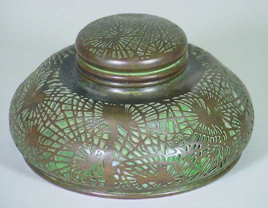 4: Tiffany Studios  New York Pine Needle Bronze Inkwell
