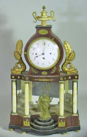 19th C. Empire Mantle Clock With Alabaster Columns