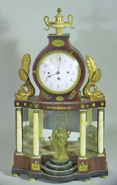 5: 19th C. Empire Mantle Clock With Alabaster Columns