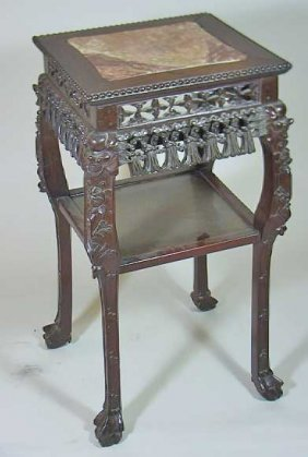 Vintage Marble Top Rosewood Carved Chinese Table